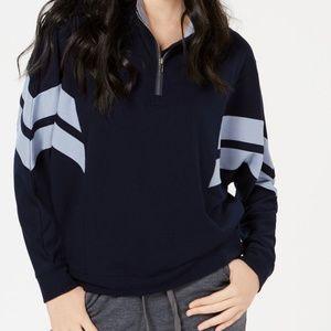 Hippie Rose Striped Half-Zip Sweatshirt
